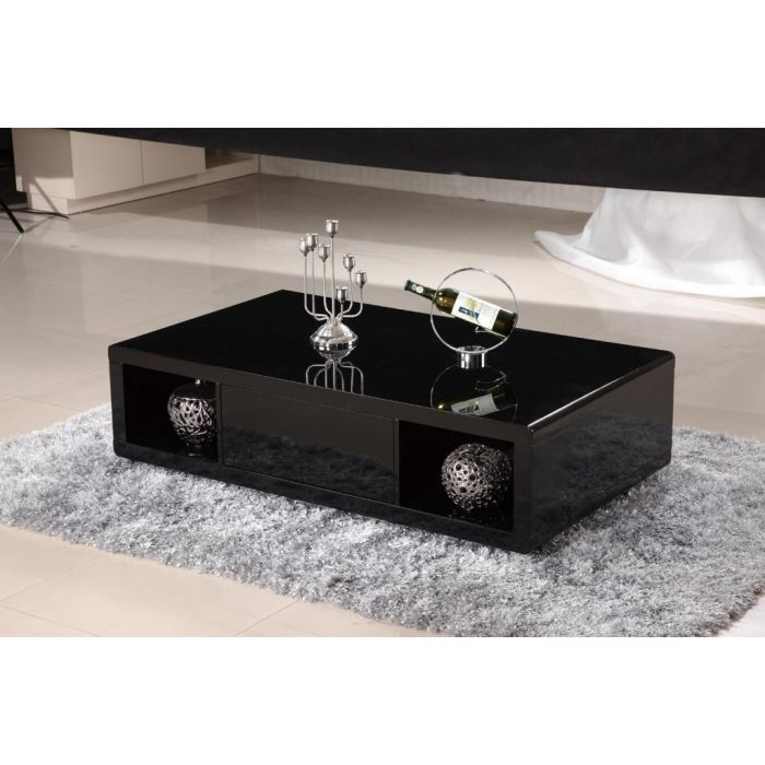 table basse noire laquee - n15