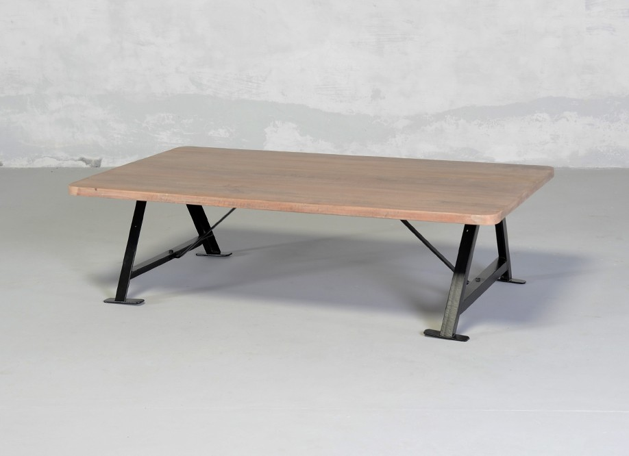 Table basse bois brut et metal n15 - Table basse bois pied metal ...