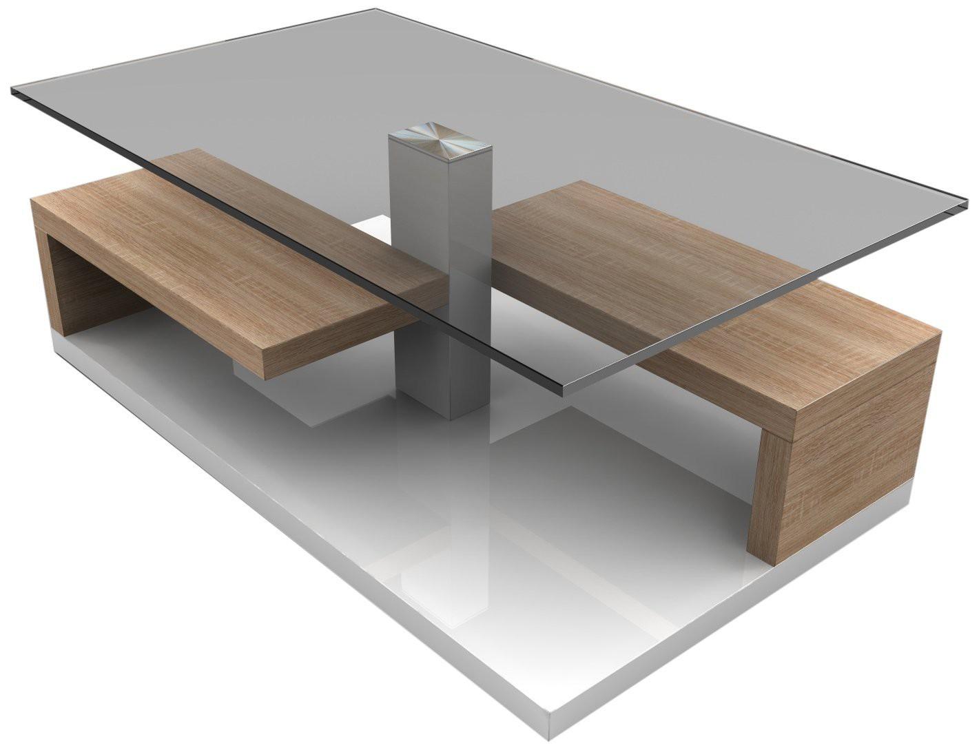 Table Salon Bois Et Verre Table Basse Blanche En Verre Decoration