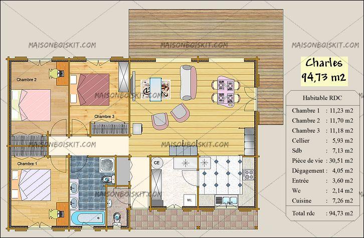 cout maison bois 100m2 n15. Black Bedroom Furniture Sets. Home Design Ideas